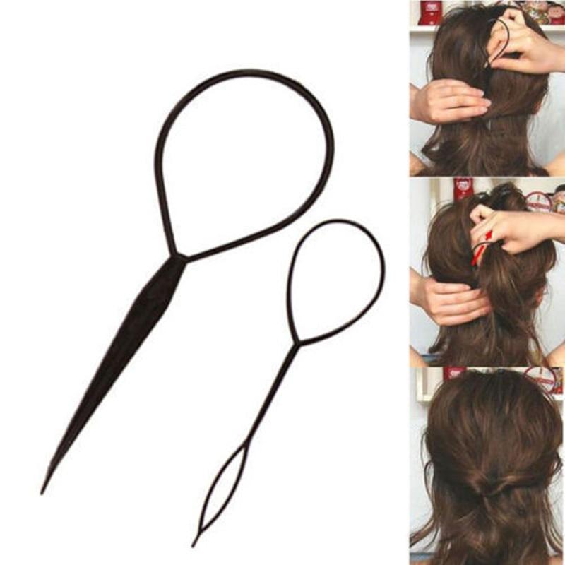 Braid-Tool-Stick Hairpins Tail-Curler-Clip Fashion Makeup 2PCS Ponytail-Maker Beauty-Decor