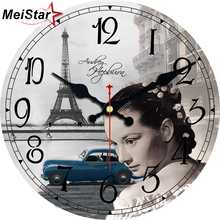 MEISTAR Charming Girl Clocks Scenery Figure Design Silent Home Kitchen Watches Decor Vintage Art Large Size Wall Clock Gift