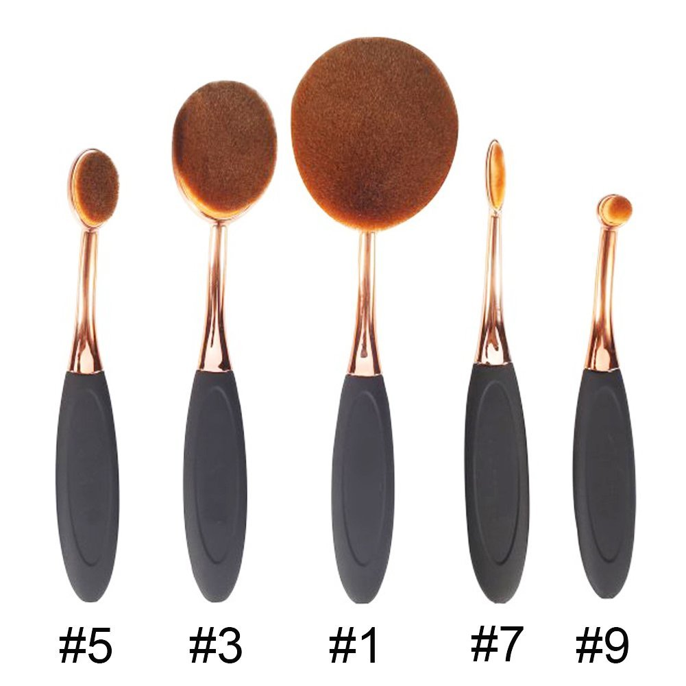 Box 5 piece oval brush tools rose gold oval makeup brush for Stahlwandpool oval set