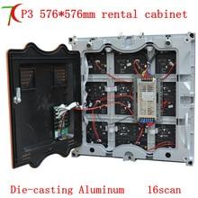P3 Die-fundição de alumínio gabinete do equipamento exibição, hd tela aluguer, 16 digitalização, 576mm * 576mm, 111111 pontos/m2
