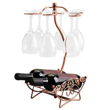 Fio de ferro folha bordo oco vinho rack suporte pendurado copos bebendo stemware prateleira garrafa vinho & copo vidro titular exibição