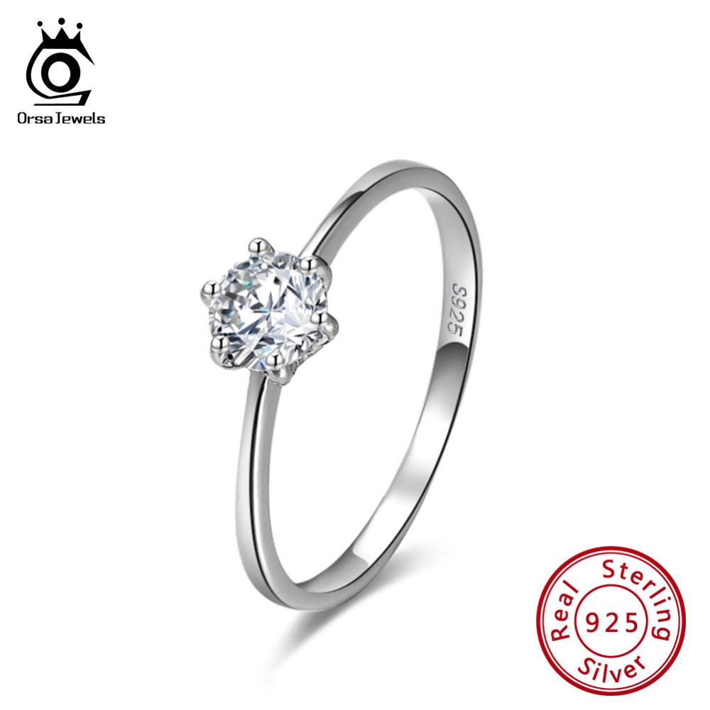 ORSA JEWELS 925 Sterling Silver Ring AAA Cubic Zirconia Propose Marriage Engagement Wedding Rings Jewelry For Women 2019 OSR116