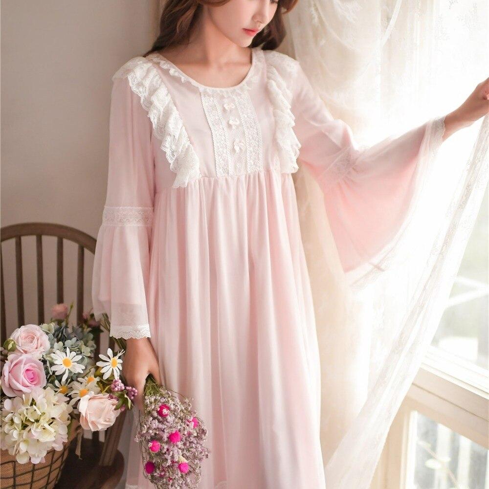 2019 New Arrival Delicate White Lace Vintage Women's Nightgowns Modal Elegant Nightwear wear Princess Long Night Dress  8165