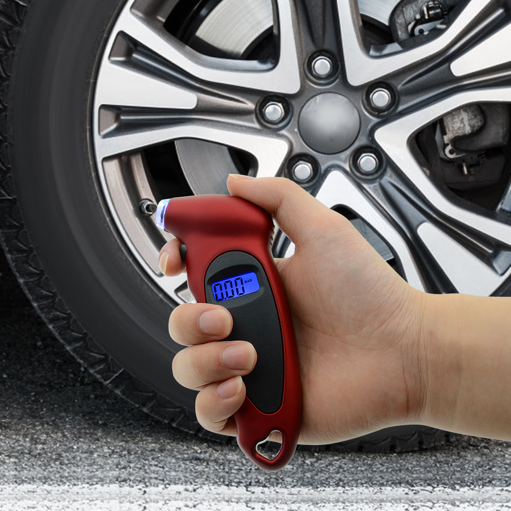 Tire Pressure Tester Air Pressure checker adapter with Keychain Mini Digital Tire Pressure Gauge 150 PSI 4 Settings for Car Truck Bicycle Bike with LCD