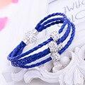 Caliente Nuevo orden trenzado cadena de joyería braclets rainbow regalos ouro de botón a presión pulsera mujeres de la bola de cristal de múltiples capas