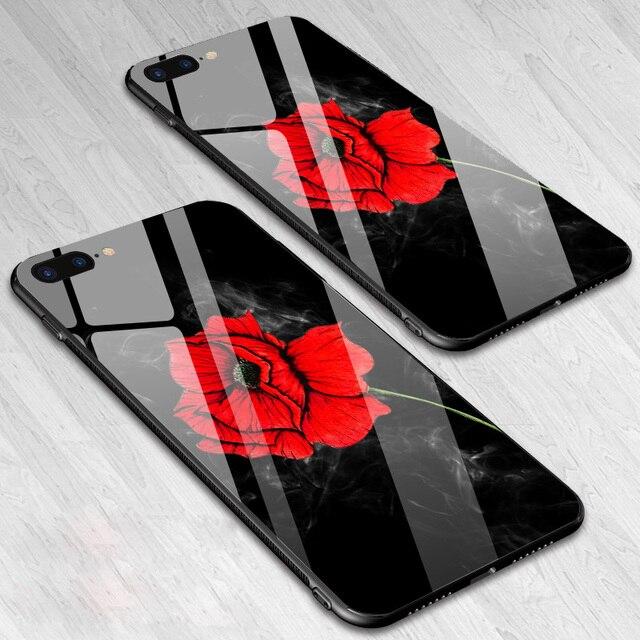 IIOZO Trempé Verre Téléphone Cas Pour iPhone 8 7 6 6 s Plus cas Rose Floral Fleur Antichoc Couverture Arrière Pour iPhone 7 8 Plus Shell