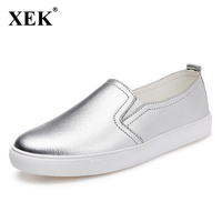 2017 New Spring Real Leather Women Leather Loafers Valentine Flat Shoes Woman Slip On Female Shoes slipony Silver Moccasins XC67