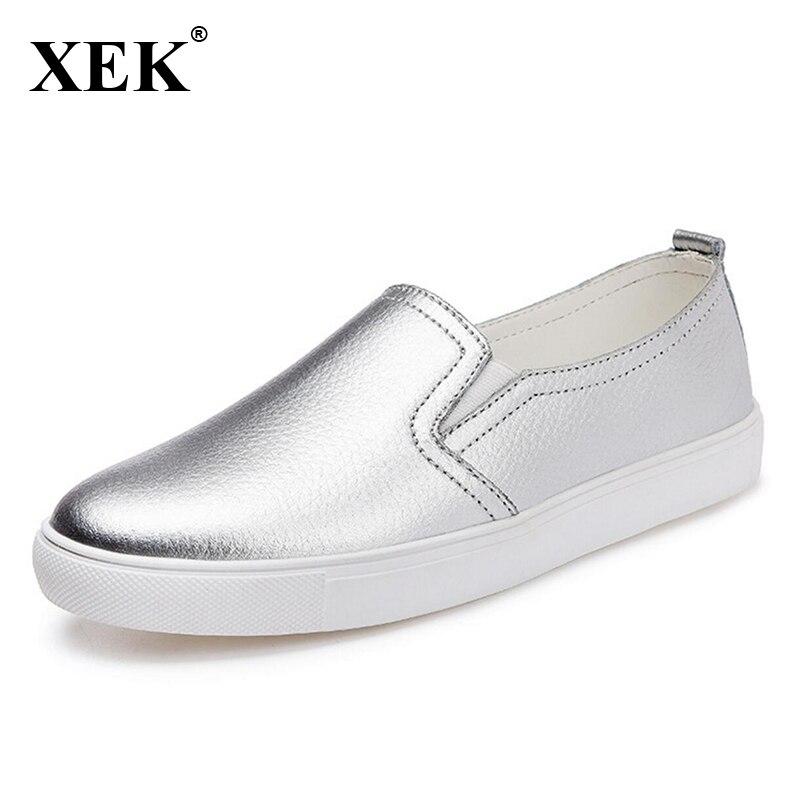 Black Mocasines Plana On Xc67 white Primavera Femenino Plata Slip Zapatos Valentine Mujeres Nueva Real Mujer silvery 2017 De Slipony Cuero xFYTAqgw