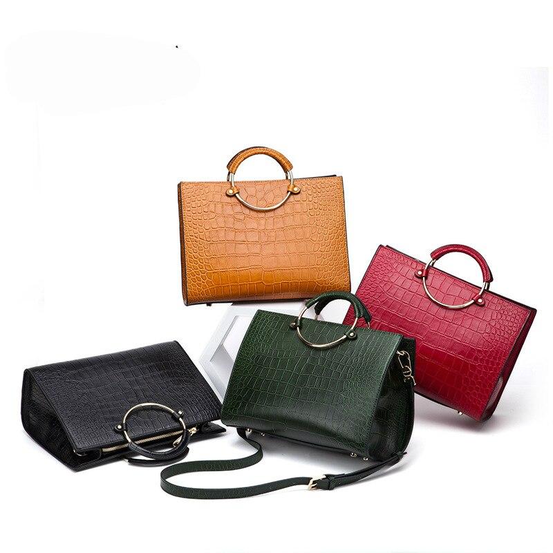 fashion Women Messenger Bags Genuine Leather Shoulder Crossbody Bags Ladies Handbags Vintage Alligator Leather Bags Female