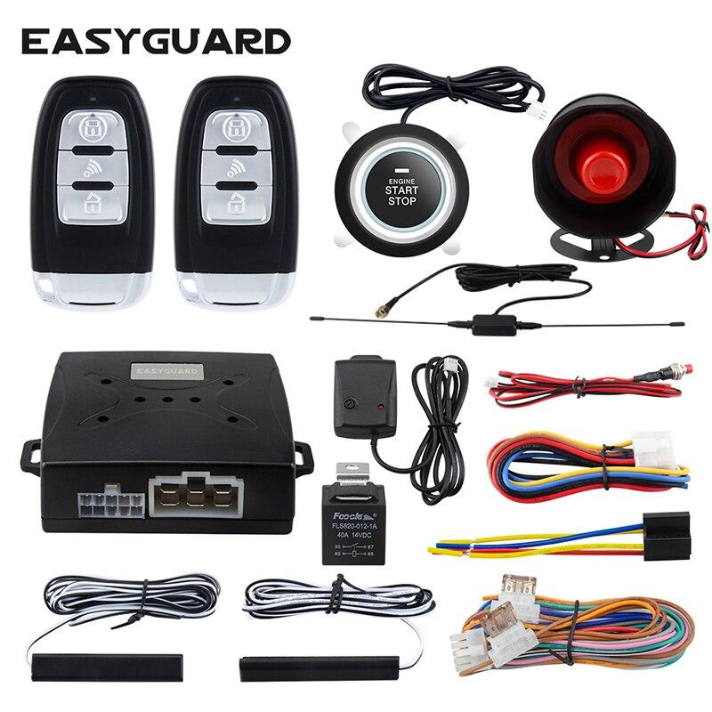 Système d'alarme de sécurité de voiture EASYGUARD avec entrée sans clé passive PKE bouton poussoir DC12V