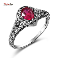 Dream Catcher Water Drop Ruby Jewelry Ring For Women Bohe Vintage Style Genuine 925 Sterling Silver