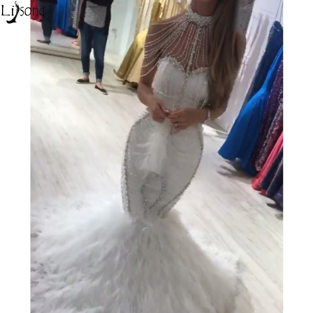 Amazing Beading Mermaid Evening   Dress   Luxury Pearls High Neck Full Beaded Chic   Prom     Dresses   Custom Made Party Gowns NO FEATHERS.