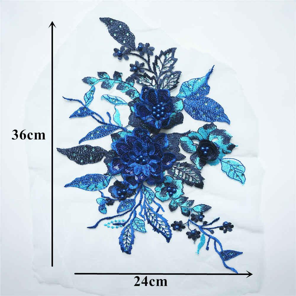 Xanh Dương Đầm Ren Hoa Hồng Hạt Đá Kim Sa Lấp Lánh Táo May Vá Cổ Áo Cưới Đầm Đồ Trang Trí