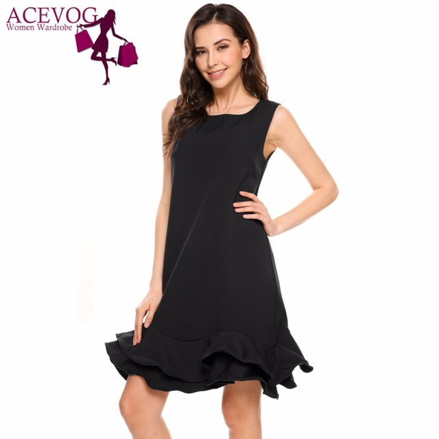 ACEVOG Women Sleeveless Ruffled Peplum Shift Dress Summer Autumn Tank  Dresses Elegant Dresses O-Neck Party Feminino Vestidos 8179fe27e