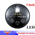 """Black 7"""" LED Projection Head Light Lamp Turn Signal for Harley Davidso Touring Electra Street Glide Stickers Softail Road King"""