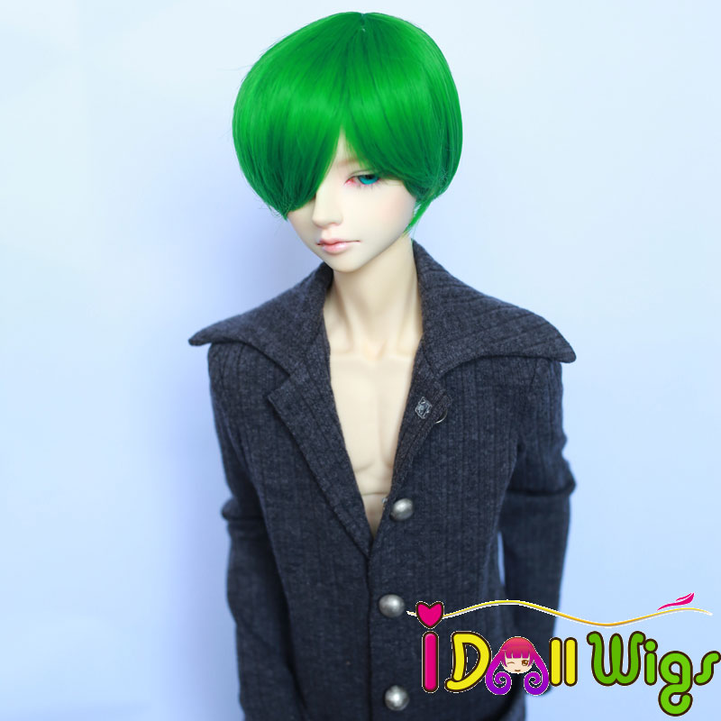 Free Shipping High Temperature Fiber Synthetic Doll Wig Green Short Boy Style Bjd Wigs 1/3 1/4 For Choice On Sale Pleasant To The Palate