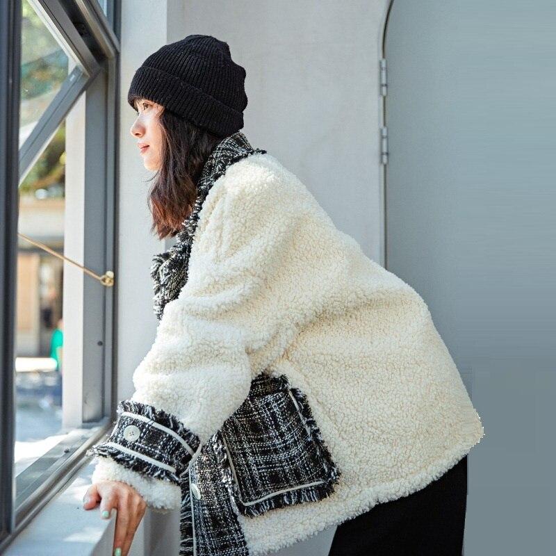 Vestes Nouveau 2018 Artificielle white Black Manteau Noir Laine Blanc Hiver Agneau Femmes Plaid Chaud Spliced r8dqr