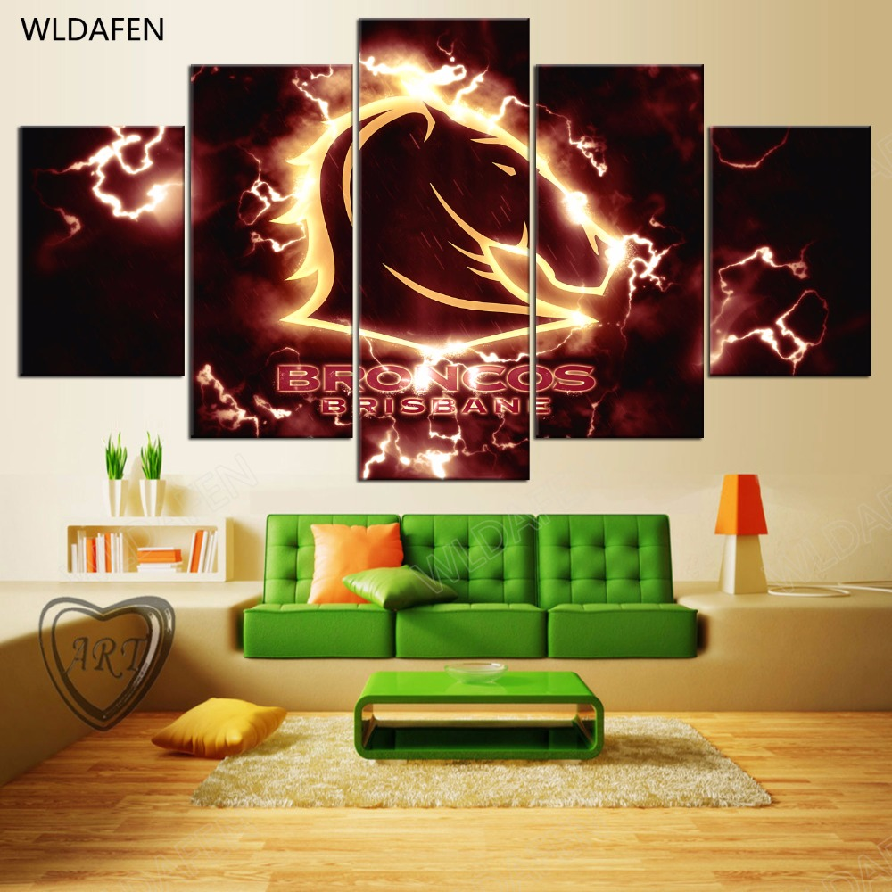 5 Pieces Sports Team Deco Fans Posters Oil Painting On Canvas Modern Home Pictures Prints Decor Living Room PH4-1784