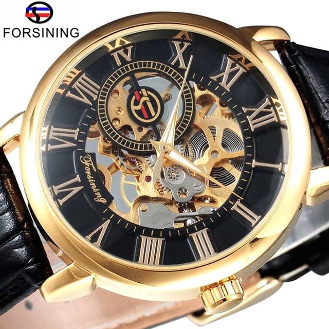 Forsining Men Watch Top Brand Luxury Skeleton Mechanical Watch Black Golden 3D L