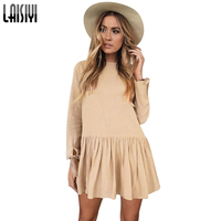 LAISIYI Women Autumn Winter Pleated Mini Dress Casual Loose Long Sleeve Back Button Dresses Fashion Robe Slim Vestidos ASDR50285