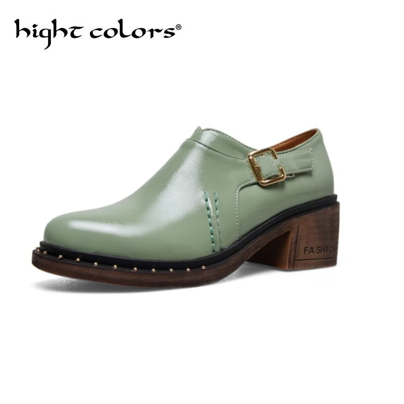 2018 Fashion Yellow Green Thick Heel Women Shoes British Style Round Toe 5CM Shoes Ladies Square High Heels Pumps Big Size 42 43 ladies shoes 2018 spring british style multicolor leather shoes square head slope thick soles shoes fashion fit flat shoes
