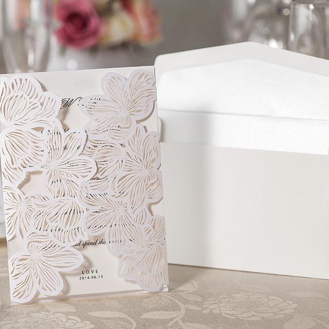 100 piece laser cut wedding card envelopeflora hollow out blank 100 piece laser cut wedding card envelopeflora hollow out blank greeting cardswhite m4hsunfo
