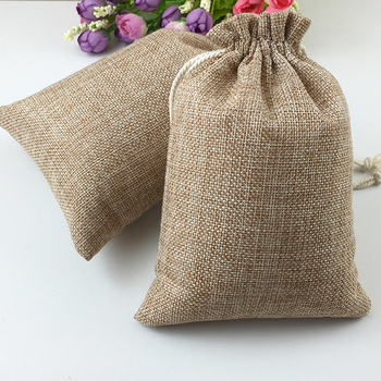 10pcs Vintage Natural Burlap Hessia Gift Candy Bags Wedding Party Favor Pouch Birthday  Supplies Drawstrings Jute Gift Bags