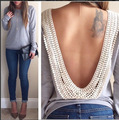 Korea open back top T shirt backless o-neck long sleeve slim lace T-shirt top de fitness feminina academia hot selling T667