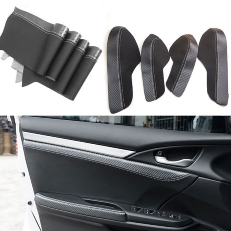 Interior PU Car-Cover Door Panel Armrest Surface Shell Cover Trim Protect Car Styling Accessories For Honda 10th Civic 2016 2017 3pcs car steering wheel button switch panel cover trim decoration carbon fiber for honda civic 2016 2017 car styling accessories
