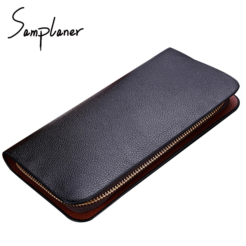Leather Wallets Long Men Clutch Bag 2017 Brand Male Wallet Zipper Purse Clutches Men Card Holders Coin Phone Pocket Portemonnee genuine leather men business wallets coin purse phone clutch long organizer male wallet multifunction large capacity money bag