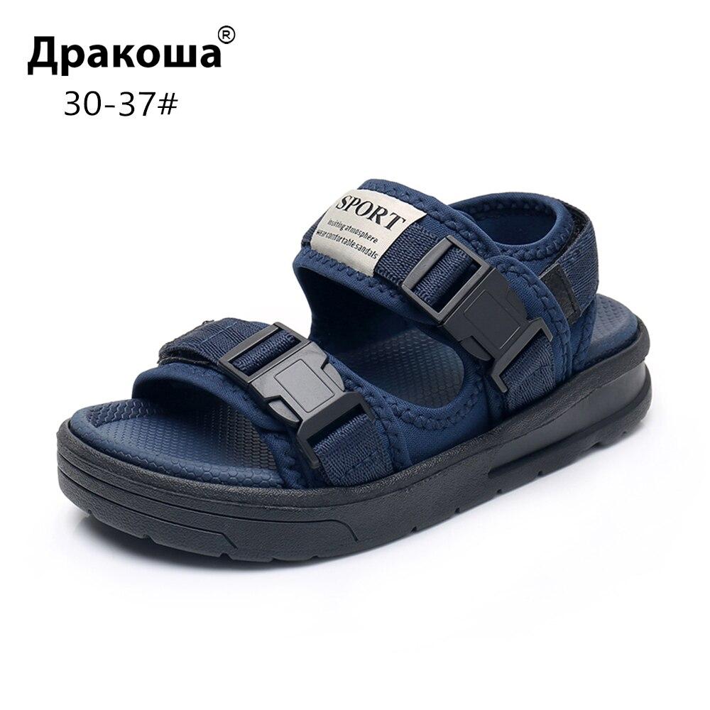 Apakowa Little Boys Open Toe Hook And Loop Beach Walking Adjustable Sports Sandals Kids Outdoor Water Sandal Summer Buckle Shoes