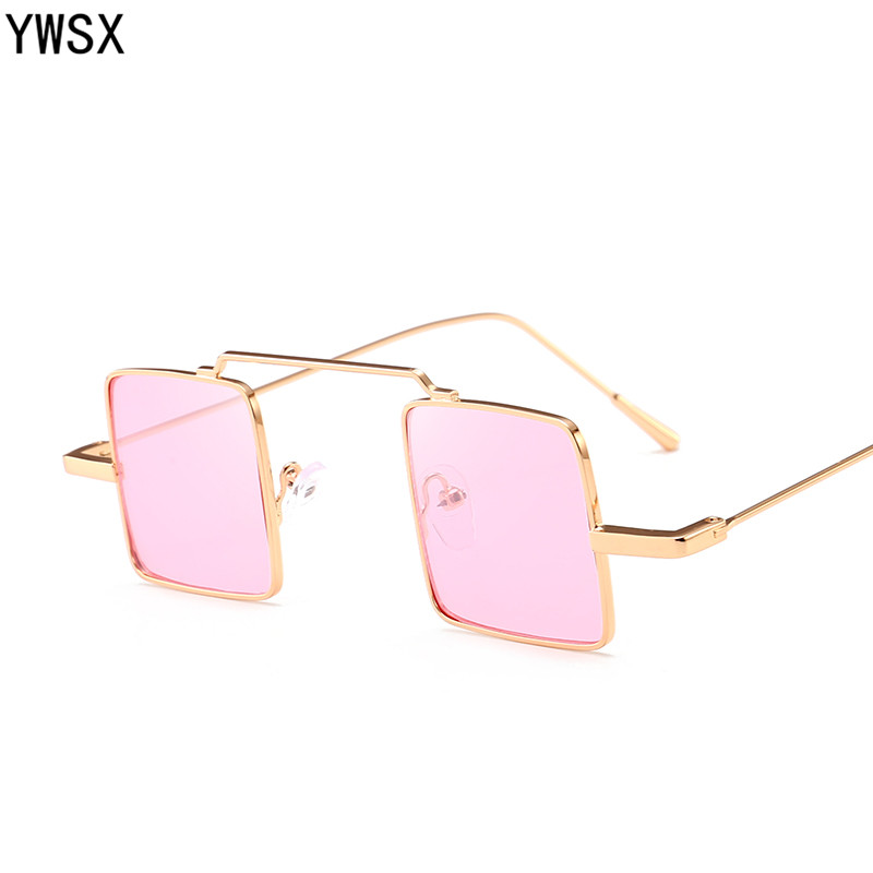 d6d7e99b8e2149 YWSX Nouveau 2018 Vintage En Métal Cadre Lunettes de Soleil Hommes Rétro  Petit Carré lunettes de Soleil Femmes Marque Designer Lunettes