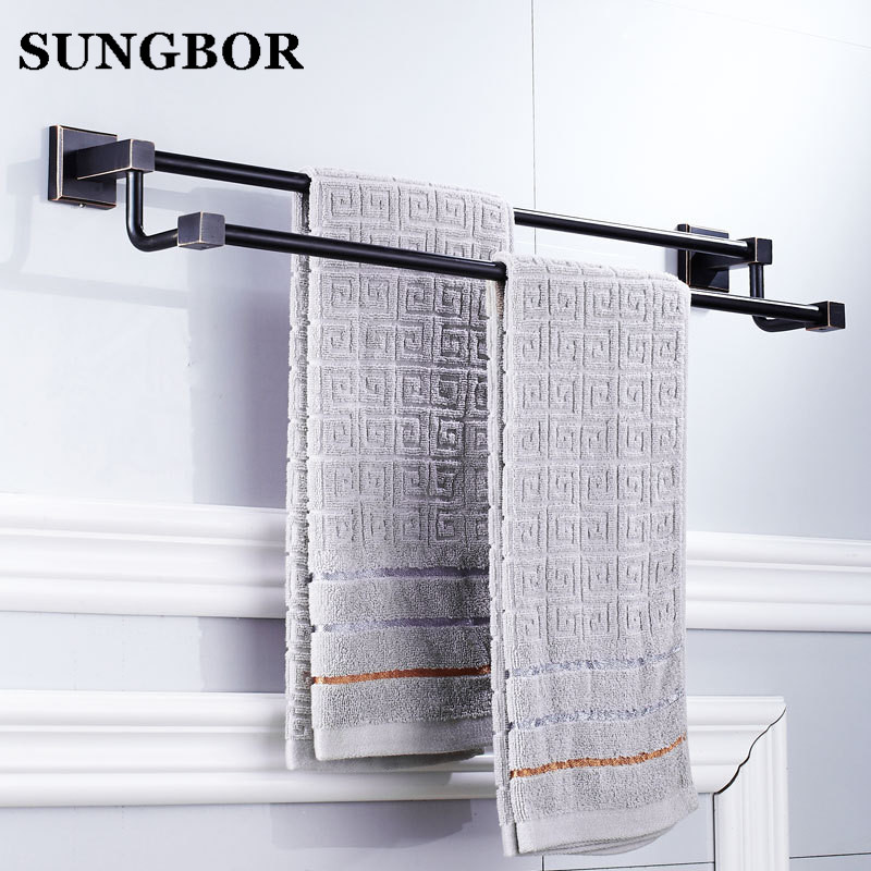 High Quality Black Oil Nickle Towel Hanger wall mounted 24 inch Double Towel Bar/Towel Holder Bathroom accessories Towel Rail high quality bathroom accessories stainless steel black finish towel ring holder