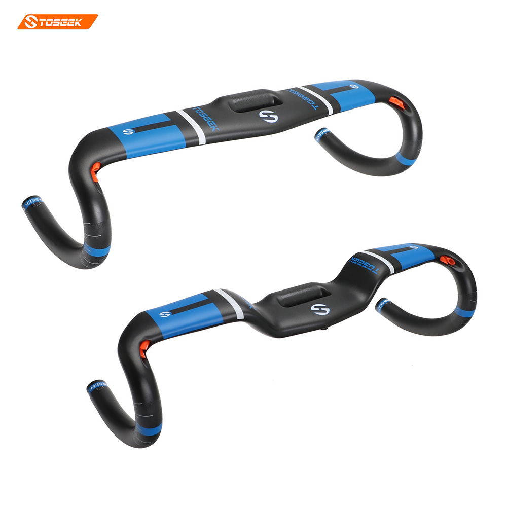 цена Toseek road bike handlebar T800 carbon handlebar road handlebar/bent Bar bike accessory matt blue