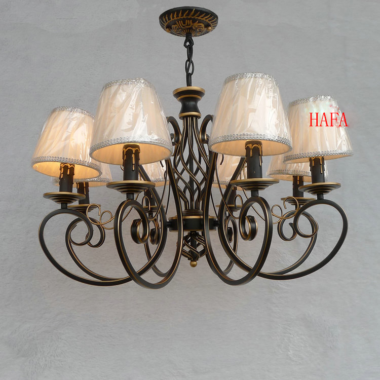 european american vintage black wrought iron candle chandelier lighting 68 heads e14 idyllic bedroom - Wrought Iron Chandelier