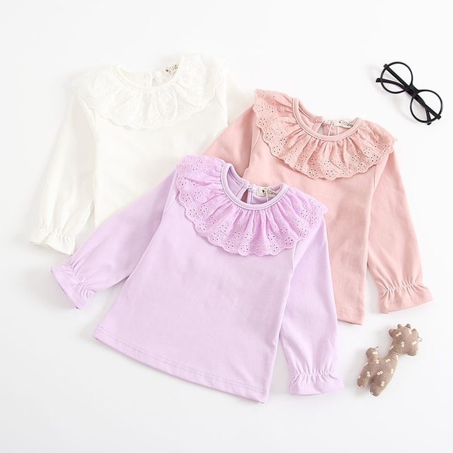 66d2b74969546 Baby Girls Long Sleeve Blouse Ruffle Blouse Girls Tops 2018 Spring Casual  New Baby Girls Blouse Cute Lace Double Collar Shirt