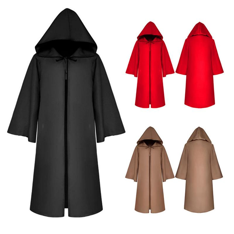 Halloween Costume Death Cloak Solid Color Hooded Coats Loose Long Coat Halloween Cosplay Props Adult Size S-XL Funny Costumes