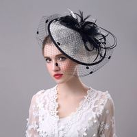 2019 Women Wedding Hats Chic White and Black Flower Feather Headpiece Face Veils Party Gifts Bridal Hat and Fascinators