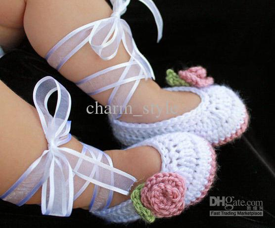 Crochet Ballet Baby Booties In White & Rose Pink First Walker  Cotton Shoes Free Shipping 10 Pcs/lot