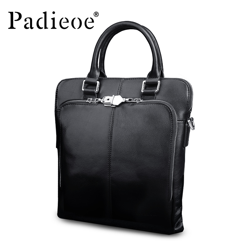 Padieoe Luxury Designer Genuine Leather Business man Briefcase Fashion Business men Tote Bag High Quality Men
