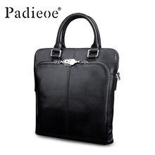 Padieoe Luxury Genuine Leather Business man Briefcase Fashion Design men's Shoulder Bag High Quality Durable Men Briefcase