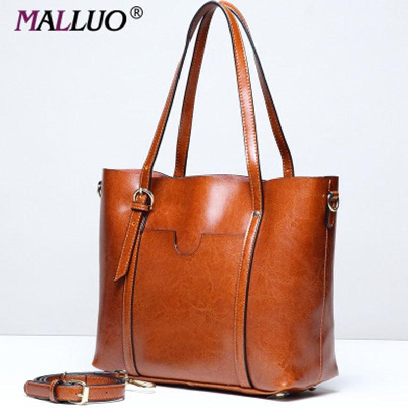 Newest Luxury Handbags Women Bags Designer Wax Oil Leather Vintage Shoulder Bags Ladies Soft large Tote Black Bag bolsa feminina