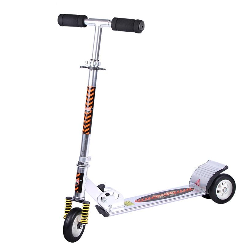 Alliage d'aluminium 2 roues Scooters pour adultes enfants pliant Portable Mini vélo Flash roue blanc réglable en hauteur