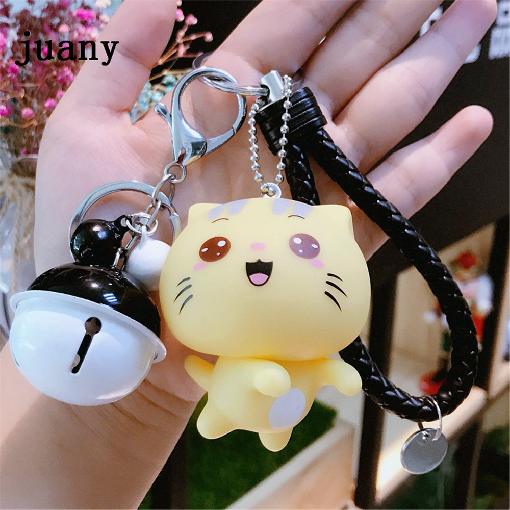 key chain leather rope key chain women cut lovely keychain bells colorful key chains juany