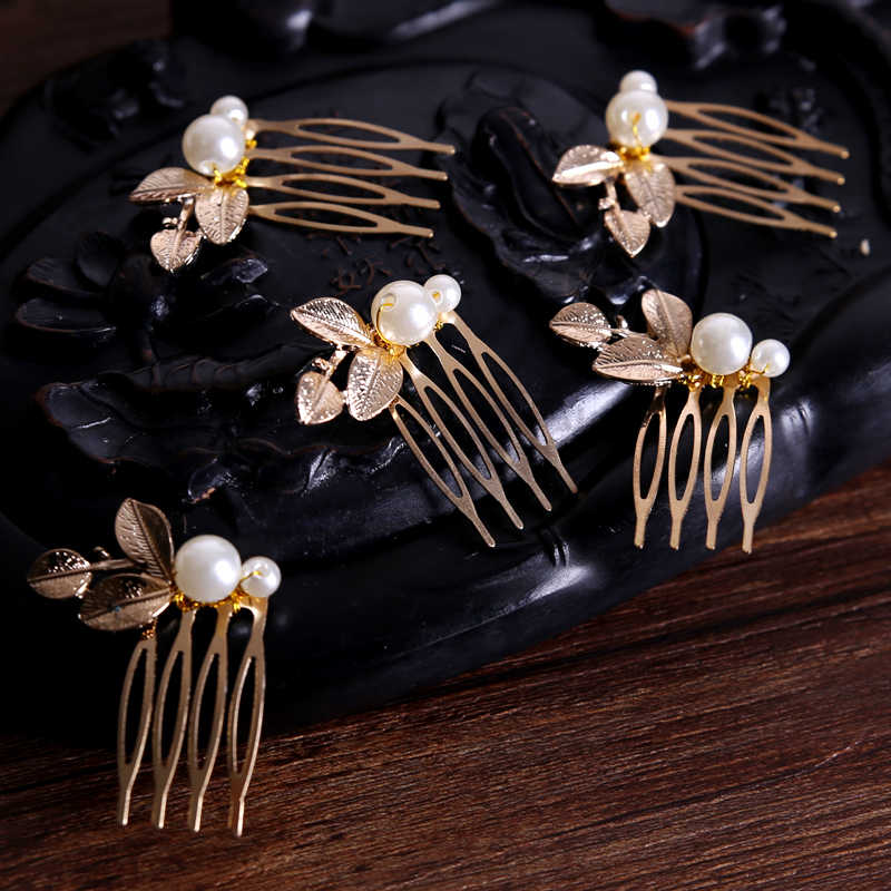 5PCS/Set Vintage Gold Hair Combs Simulated Pearl Women Jewelry For Bride Queen Girl Tiara Hairpin Party Wedding Hair Accessories