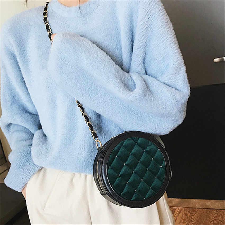 TOYOOSKY брендовая дизайнерская обувь для женщин Мини Круглый сумки через плечо ромбовидная решетка сумка велюр леди круглая сумочка кошельки