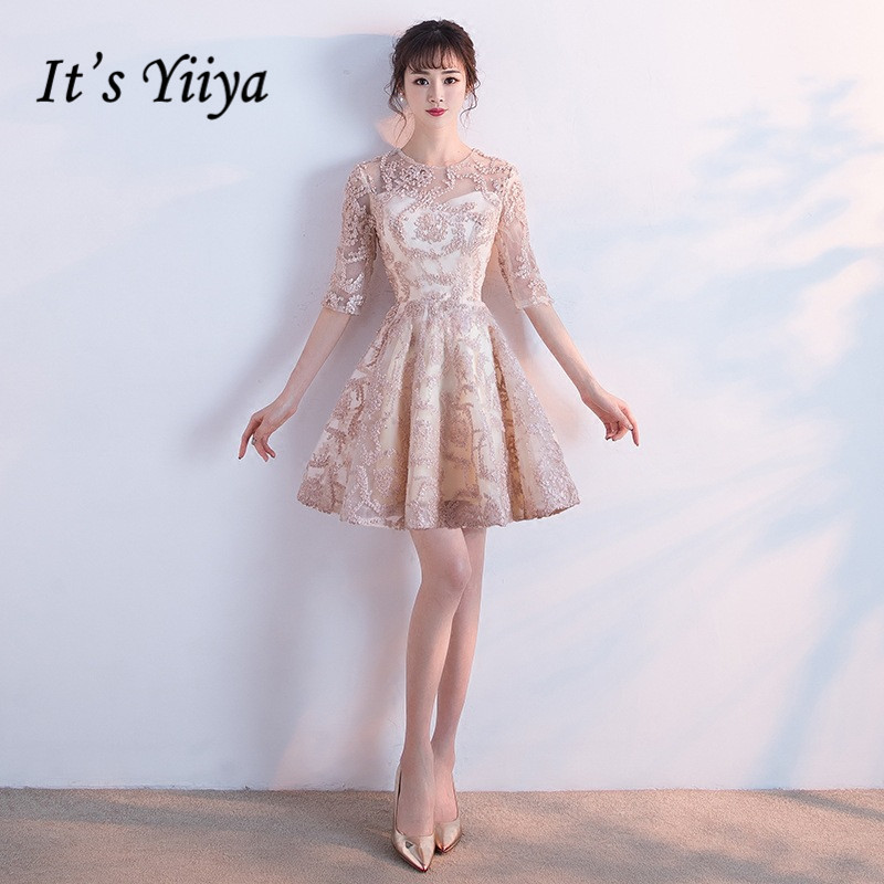 It's YiiYa   Cocktail     Dresses   Illusion Lace O-neck Half Sleeve Short Party Ball Gown Khaki Emboridery Elegant Formal Gown E293