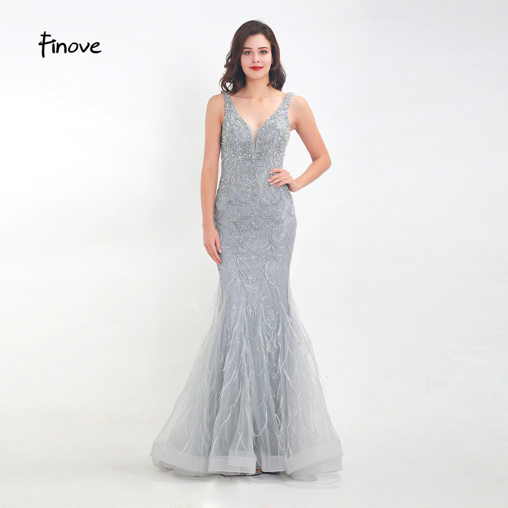c47ab82339 New Silver Perspective Sexy Mermaid Evening Dress Diamond Feathers ...