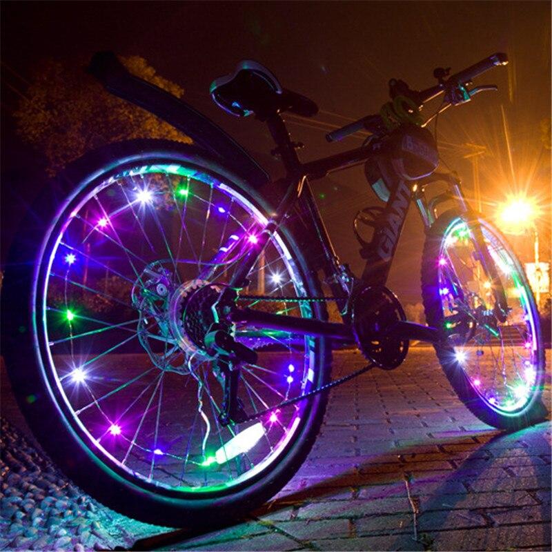 Colorful Bicycle Lights 2-Meter Light String LED Bicycle Bike Cycling Rim Lights Wheel Spoke Light String Bike Spoke Wheel Lamp(China)