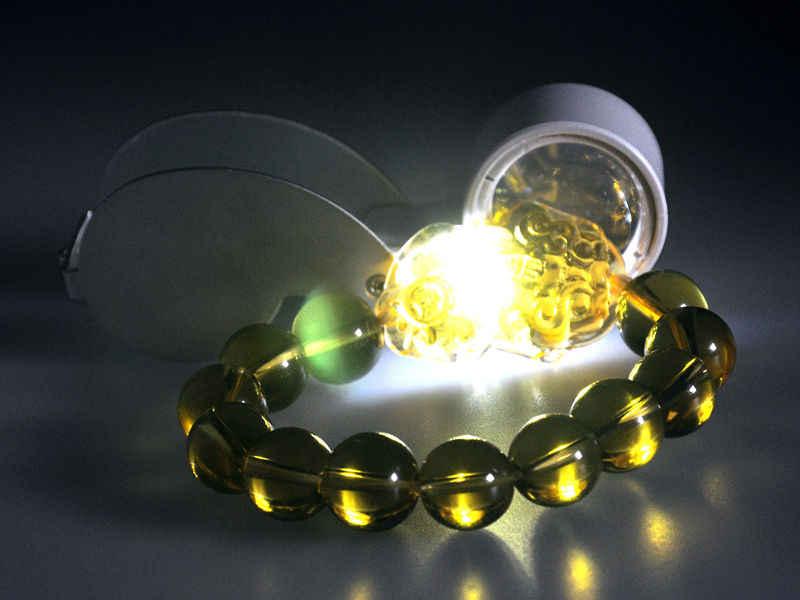 Con una lámpara LED 40x Mini portátil plegable lupa identificación joyería Esmeralda lectura de ancianos